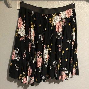 Torrid Black Floral Midi Skater Skirt NWT